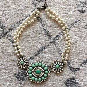 J crew mint and pearl necklace